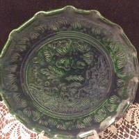 Korondi zöldmázas kerámia tányér,falitányér