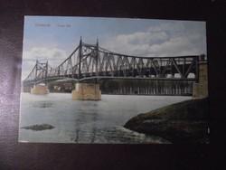 Szolnok Tisza Híd, 1920 körül színes képeslap, postatiszta