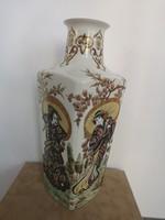 Igazi kuriózum! Gyönyörű Zsolnay dúsan festett egyedi kivitelezésű gésás váza, hibátlan