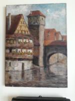 Gyimesi Lajos  festőművész  Nürnberg c. festménye 1989.