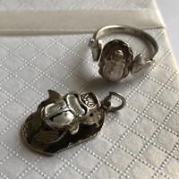 Ezüst gyönyörű egyiptomi szkarabeusz szett medál és gyűrű