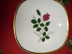 BAVARIA SCHUMANN ARZBERG  Germany számozott arany szélű rózsáss kínáló tál 20x20 cm. hibátlan