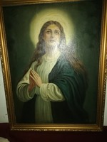 Festmény antik olaj vászon szűz Mária imatkozik
