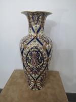 Kuriózum! Gyönyörű, orientális, kézzel festett Zsolnay perzsa mintás kék váza, hibátlan!
