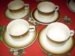 WALKÜRE BAYREUTH  fehér/barna porcelán kávés csésze alátéttel hibátlan 4 garnitura