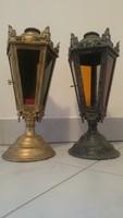 2 darab antik gyertyatartó,lámpás,mécsestartó