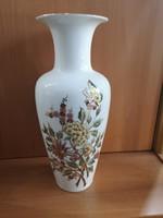 Zsolnay lepkés-virágos, dúsan festett porcelán váza, közepes méretű, új, hibátlan