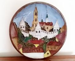 Régi kerámia tányér Budapest fali tányér retro falidísz