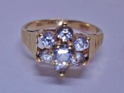 Szépséges antik margaréta arany gyűrű fehér kövekkel akció!!!