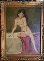 """""""AKT"""" Régi olaj-vászon  festmény  80 x 60 cm,jelzett"""