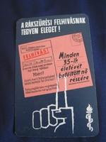 1964. Kártyanaptár - Felhívás! Rákszűrés