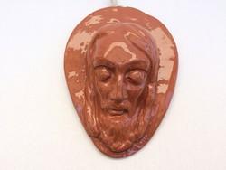 Régi kerámia Jézus fej fali dísz 18 cm