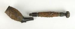 0U969 Antik faragott vadászjelenetes pipa darabok