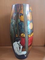 """Kuriózum gyűjtőknek! Zsolnay többtüzű """"Faun"""" váza Gyugyi gyűjteményből új gyártás, hibátlan darab"""