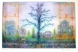 Gross Arnold: Emlékek kertje I. rézkarc
