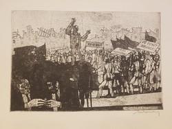 Vége az inflációnak , megszületett a jó forint, 1946. augusztus 1.- Lukovszky László rézkarc