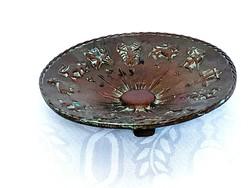 Antik keleti bronz horoszkópos tányér, tömör, 14 cm.