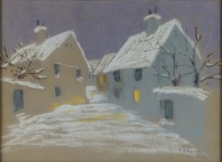 0P079 Ismeretlen festő : Régi Tabán télen 1929