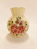 Zsolnay rózsaszínű virágos gömb váza. Hibátlan!   (No. 26)