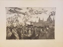 Lukovszky László rézkarc Forradalmárok Röplapja 1918. XI. 16.