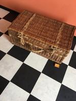 Nagyon régi fonott láda - Piknik vessző kosár - Tároló Doboz