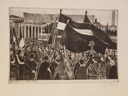 1957. május 1.- Nagygyűlés Budapesten, a Hősök terén. Stettner Béla rézkarc
