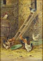 0Q288 Nyugat-európai festő : Baromfiudvar