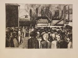 Államosítás 1948 Barczy Pál rézkarc