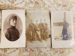 Régi háborús katona képeslap 3db