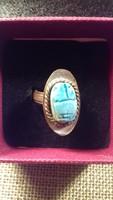 Állítható méretű gyűrű kék kővel 119