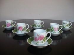 Csodálatos szépségű német HUTSCHENREUTHER porcelán rózsás kávéskészlet