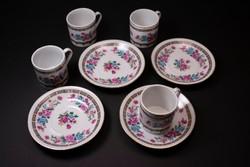 Aranyozott szélű virágmintás kínai porcelán 4 db-os kávés készlet