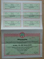 Rádiusz Hungaricus Rt 10 000.-Ft névértékü részvény 1988 + osztalék jegyek