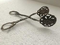 Antik ezüst német ezüst áttört virágmintás fogó