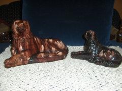 2 db kutya figura-mázas cserép retro dísztárgy