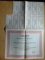 Darius Rt 10 000.-ft névértékü részvény 1990 + osztalék jegyek