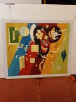 Festmény vásznon, 51x61 cm a festett rész, és még 4 centi van, vakkeretet, vagy fa hátteret kíván!