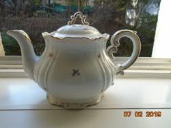 Barokkos impozáns Zsolnay teás kiöntő ,aranytollazott dombormintákkal,apró virágos