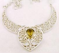 Grandiózus citrin drágaköves ezüst nyakék