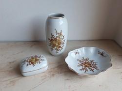 Hollóházi porcelán barna virágos váza bonbonier tál szett 3in1