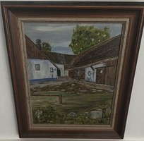 Falusi udvar olajfestmény, olaj, karton 38 cm X 32 cm