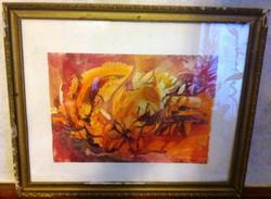 Szentgyörgyi jelzéssel kompozíciók, akvarell, papír, üvegezett keretben 53 cm X 43 cm