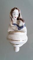 Régi vintage porcelán szenteltvíztartó 13 cm
