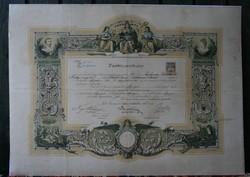 Borbélyok - Fodrászok - Parókakészítők: Tanbizonyítvány 1899-ből
