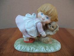 SITZENDORF porcelán, Kislány kiskutyával, tündéri figura