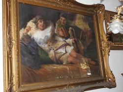 Geiger Richárd (1870 - 1945) olajfestménye, Harlequinek,  eredeti, szignált!