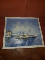 Tengerparti kikötő, olajfestmény, vásznon, 50x60-as, plusz munkaterület