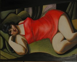 Piros tunika LEMPICKA festményének másolata