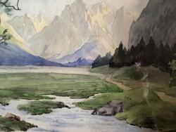 R.DIETZEL::Táj Berchtesgadeni hegyekben patakkal-akvarell-1928-ból