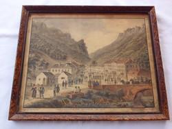 F.Neumann-Kriehuber: Herkulesfürdő 1820? Színes litográfia
